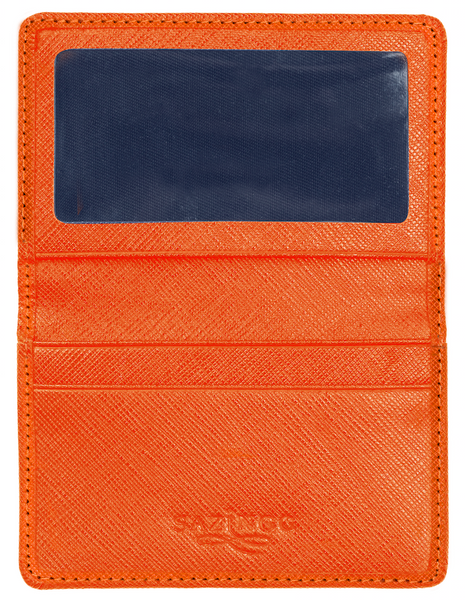 Card & ID Holder in Orange Textured Leather