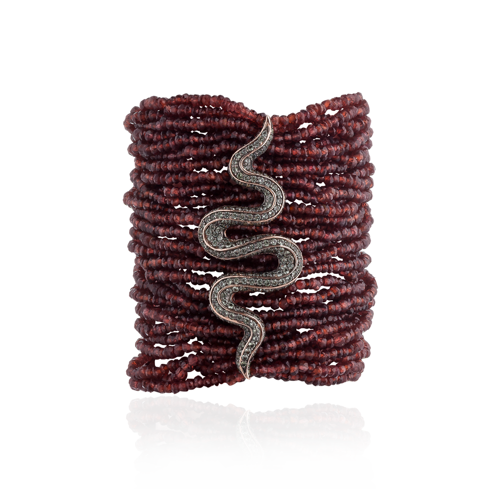Load image into Gallery viewer, 925 Silver Bracelet with Garnet Beads & Green Sapphire Pavé Swirl
