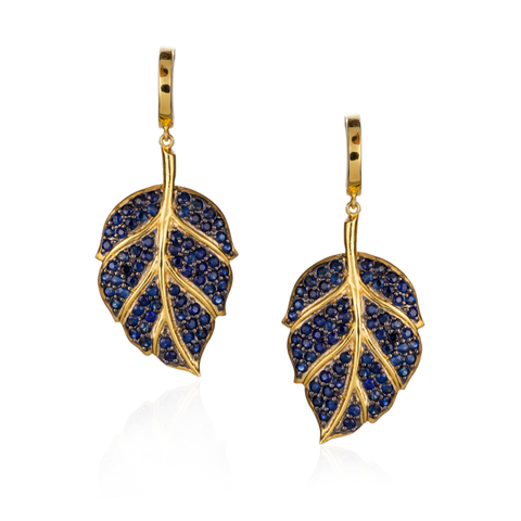925 Silver Leaf Earings with Blue Sapphire Pavé.