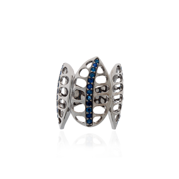 925 Silver Ring Plated in Black Rhodium with Blue Sapphires
