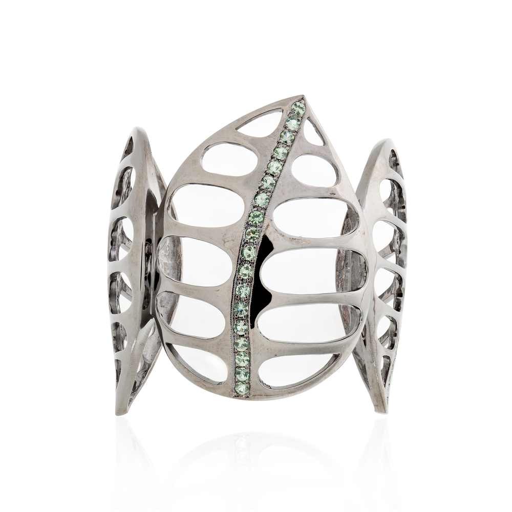 925 Silver Leaf Bracelet with Green Sapphires