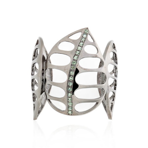 925 Silver Leaf Bracelet Plated in Black Rhodium with Green Sapphires