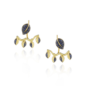 925 Silver Double Leaf Earrings with Blue Sapphire Pavé