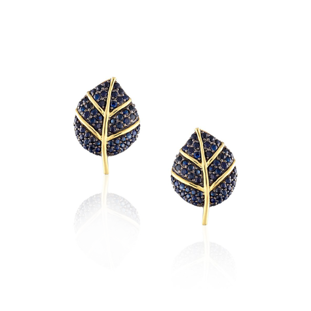 925 Silver Leaf Earrings with Blue Sapphires