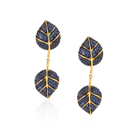925 Silver Double Leaf Earrings with Blue Sapphires