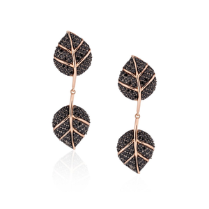 925 Silver Double Leaf Earrings with Black Sapphires