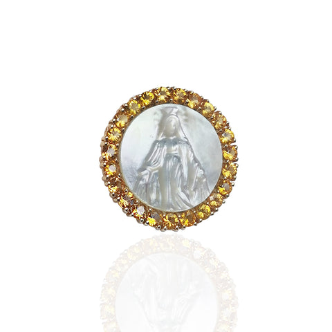 14K Yellow Gold Medal of Our Lady Grace with Mother of Pearl Center & Yellow Sapphire