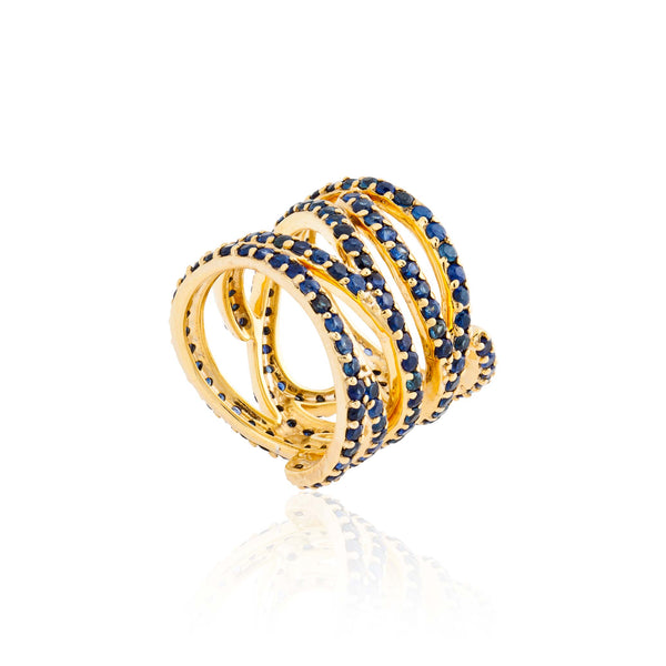 925 Silver Wavy Ring with Sapphires
