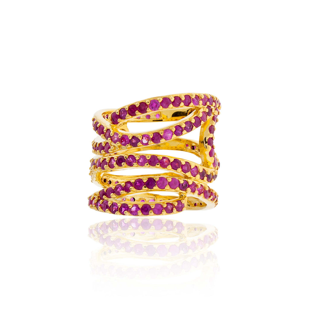 925 Silver Wavy Ring with Rubies