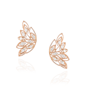 Load image into Gallery viewer, 18K Rose Gold Earrings with Diamonds