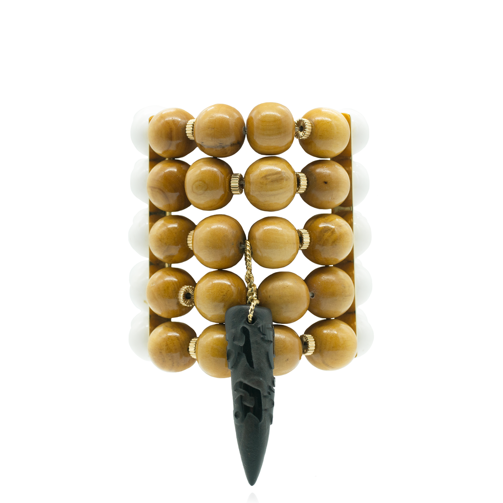 Stretchy Bracelet with Wooden & Pearl Beads, & Jade Horn