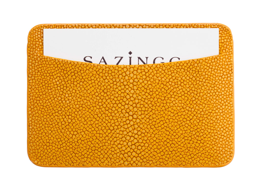 Orange Stingray Leather Credit Card Holder