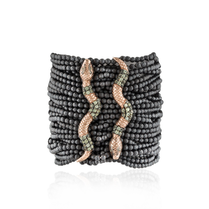 Load image into Gallery viewer, 925 Silver Double Snake Bracelet with Hematite & Green Sapphires