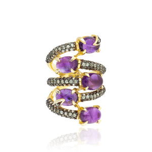 925 Silver Ring with Amethyst & Sapphires