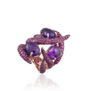 925 Silver Ring with Amethyst & Ruby