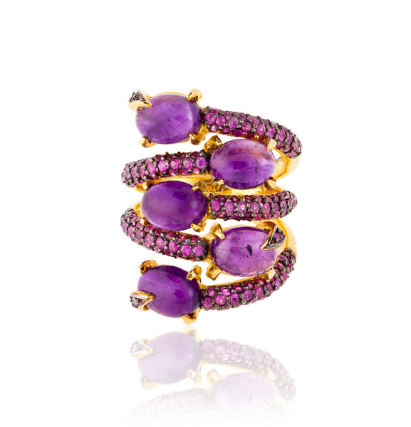 925 Silver Ring with Amethyst and Ruby
