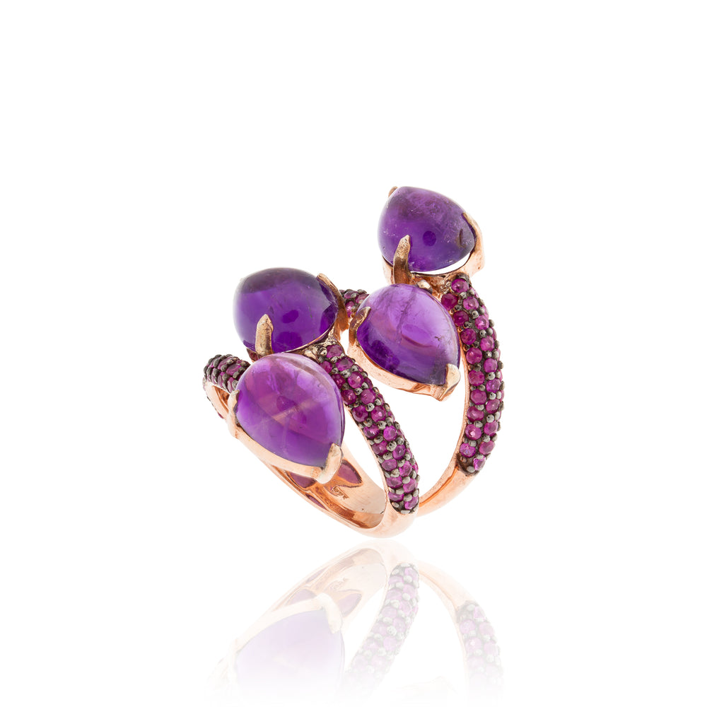 925 Silver Ring with Amethyst Cabochons & Ruby Pavé