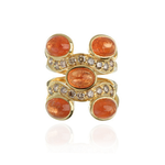 18K Yellow Gold Ring with Orange Sapphire