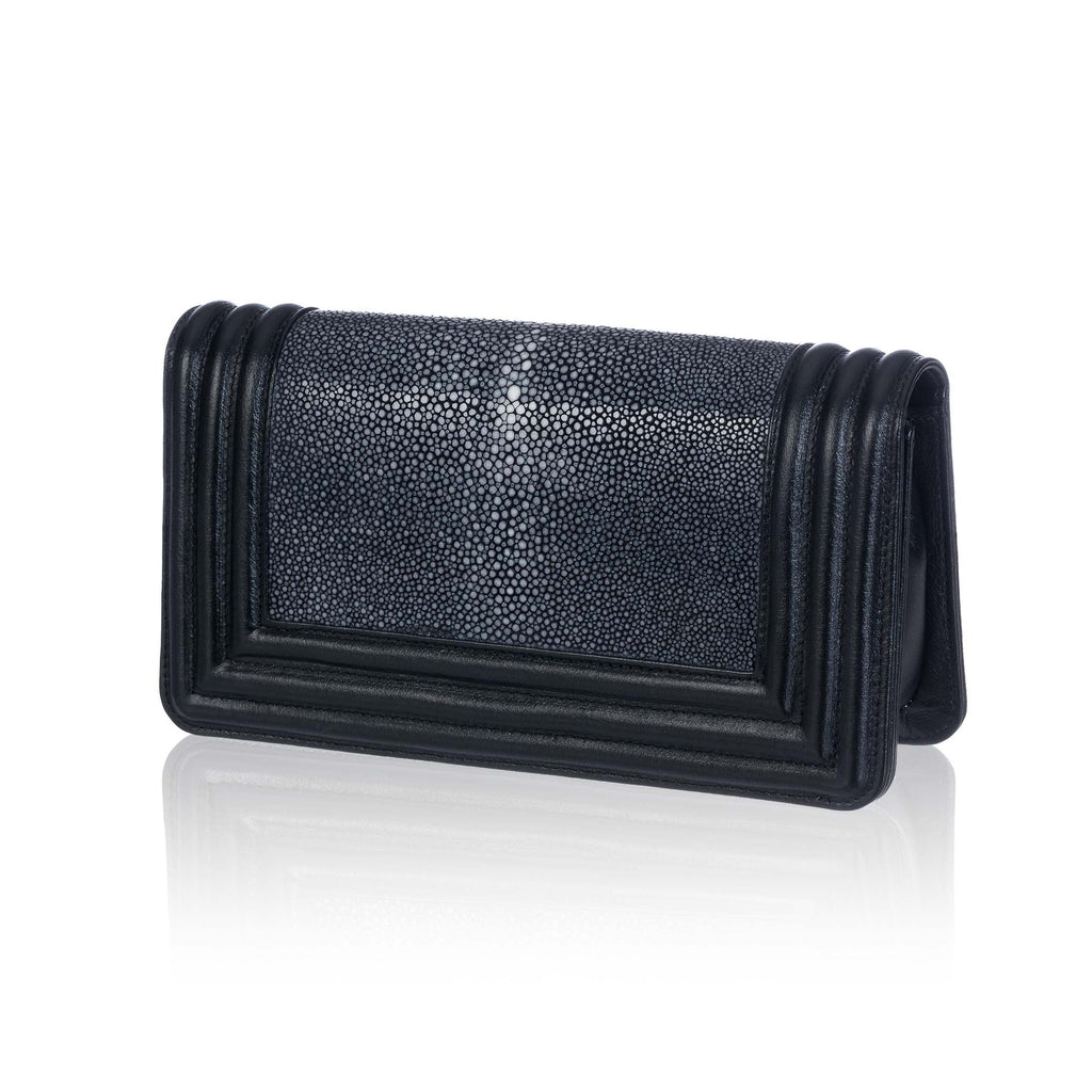 Black Stingray and Leather Clutch