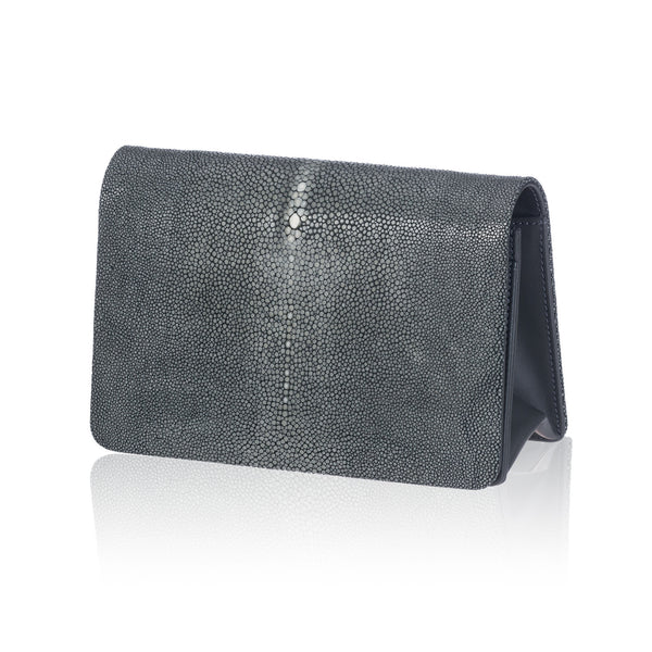 Gray Stingray Leather Clutch