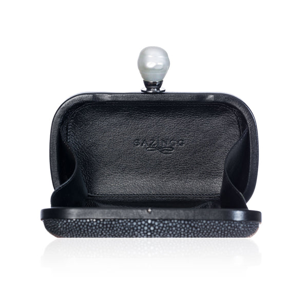 Black Stingray Leather Clutch