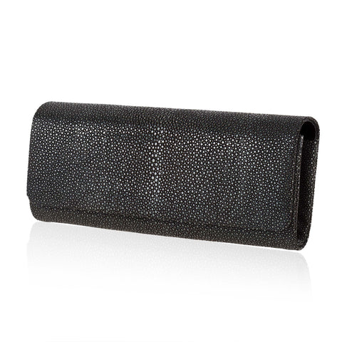 Long Black Stingray Leather Clutch
