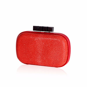 Red Stingray Leather Clutch