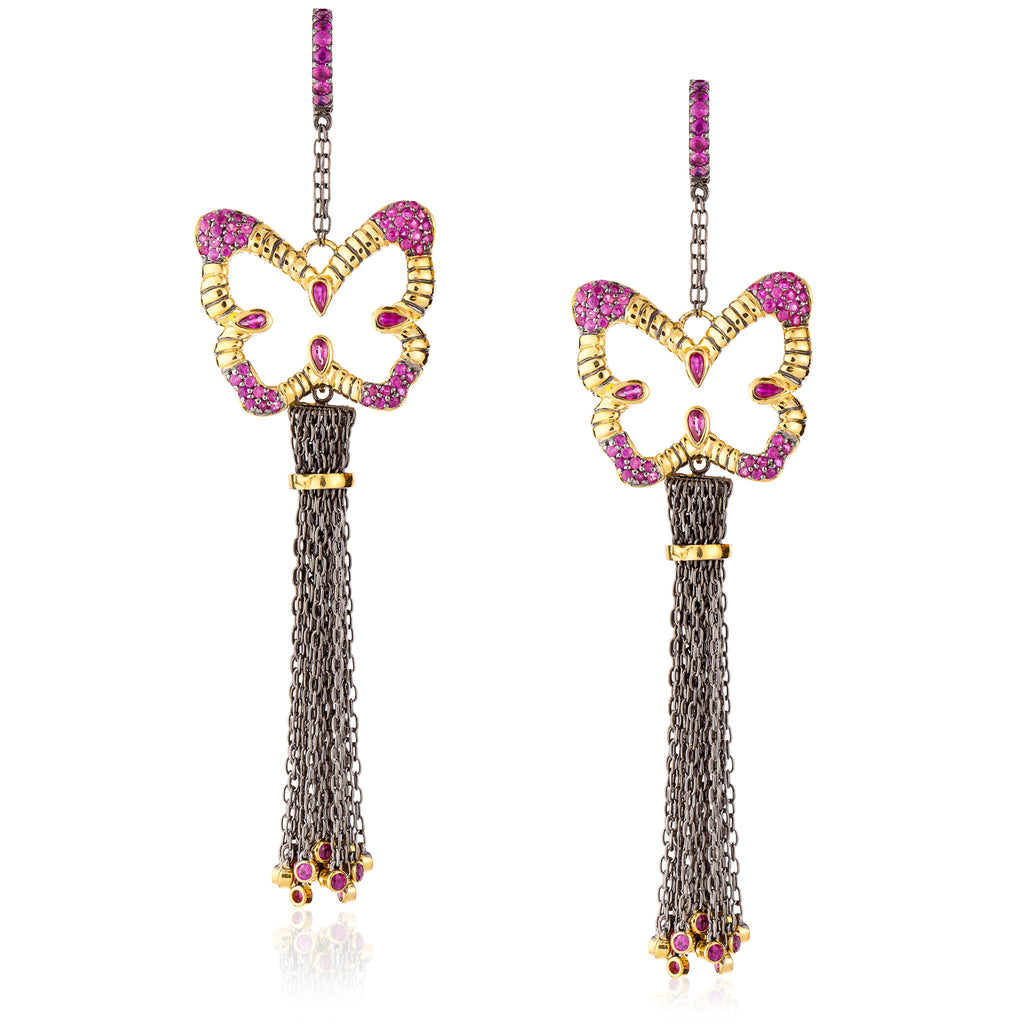 925 Silver Butterfly Tassel Earrings with Rubies