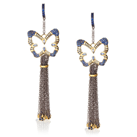 925 Silver Butterfly Tassel Earrings with Blue Sapphires
