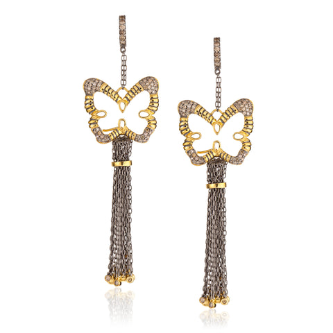 925 Silver Butterfly Tassel Earrings with Diamonds