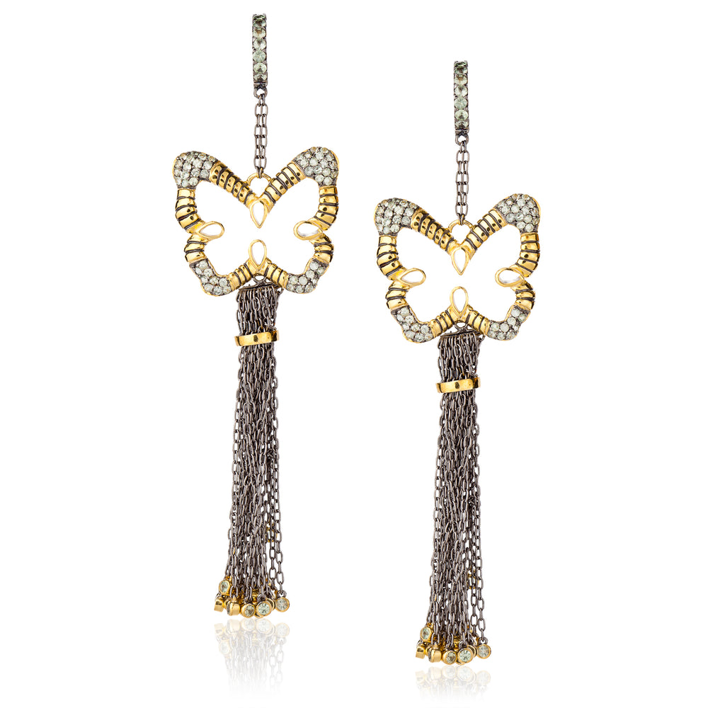 Load image into Gallery viewer, 925 Silver Butterfly Tassel Earrings with Green Sapphires