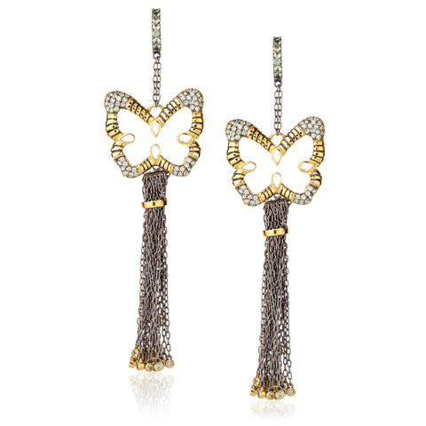 925 Silver Butterfly Tassel Earrings with Green Sapphires