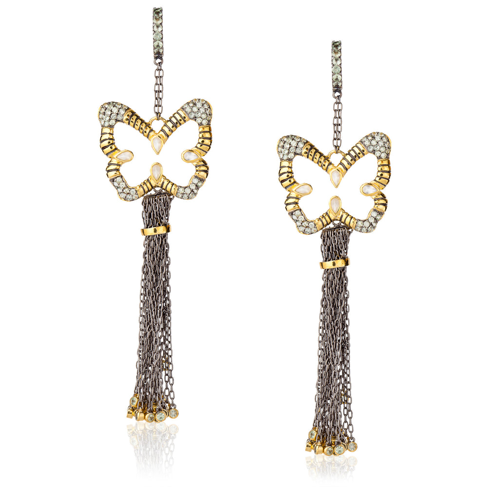 925 Silver Butterfly Tassel Earrings with Green Sapphires & Moonstones