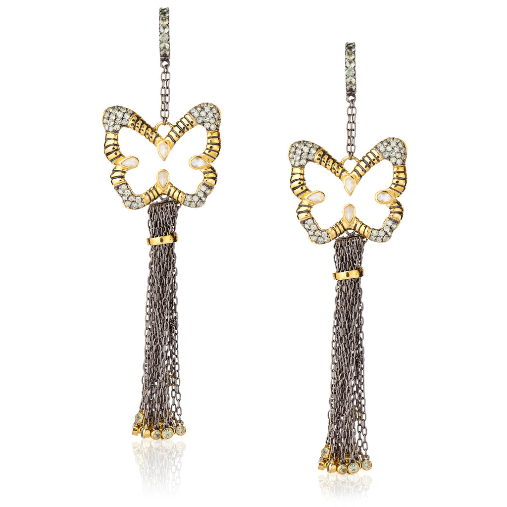 925 Silver Butterfly Tassel Earrings with Sapphires and Moonstones