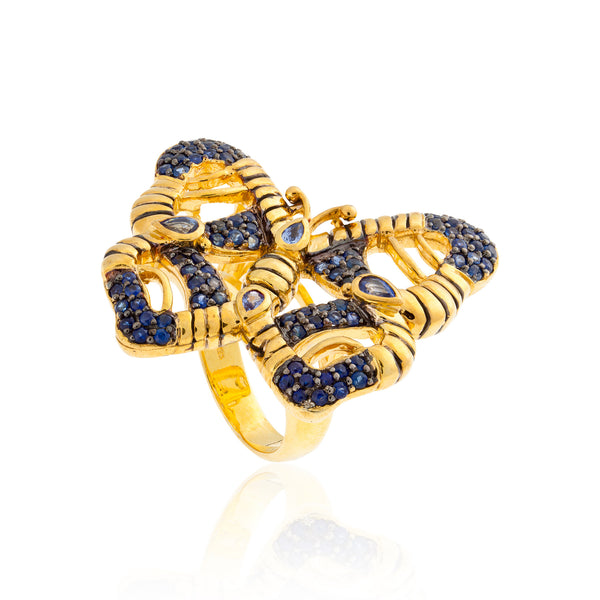 925 Silver Butterfly Ring with Sapphires