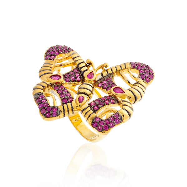 925 Silver Butterfly Ring with Rubies