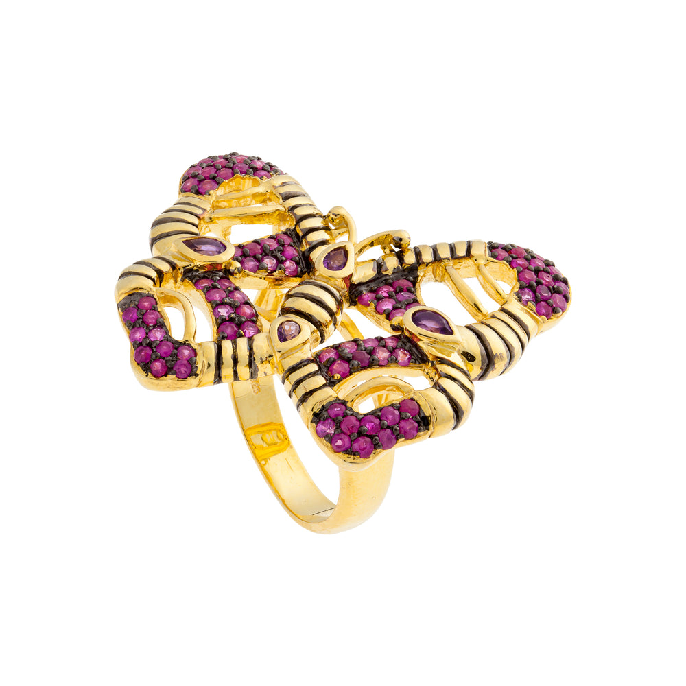 925 Silver with Ruby and Amethyst Butterfly Ring