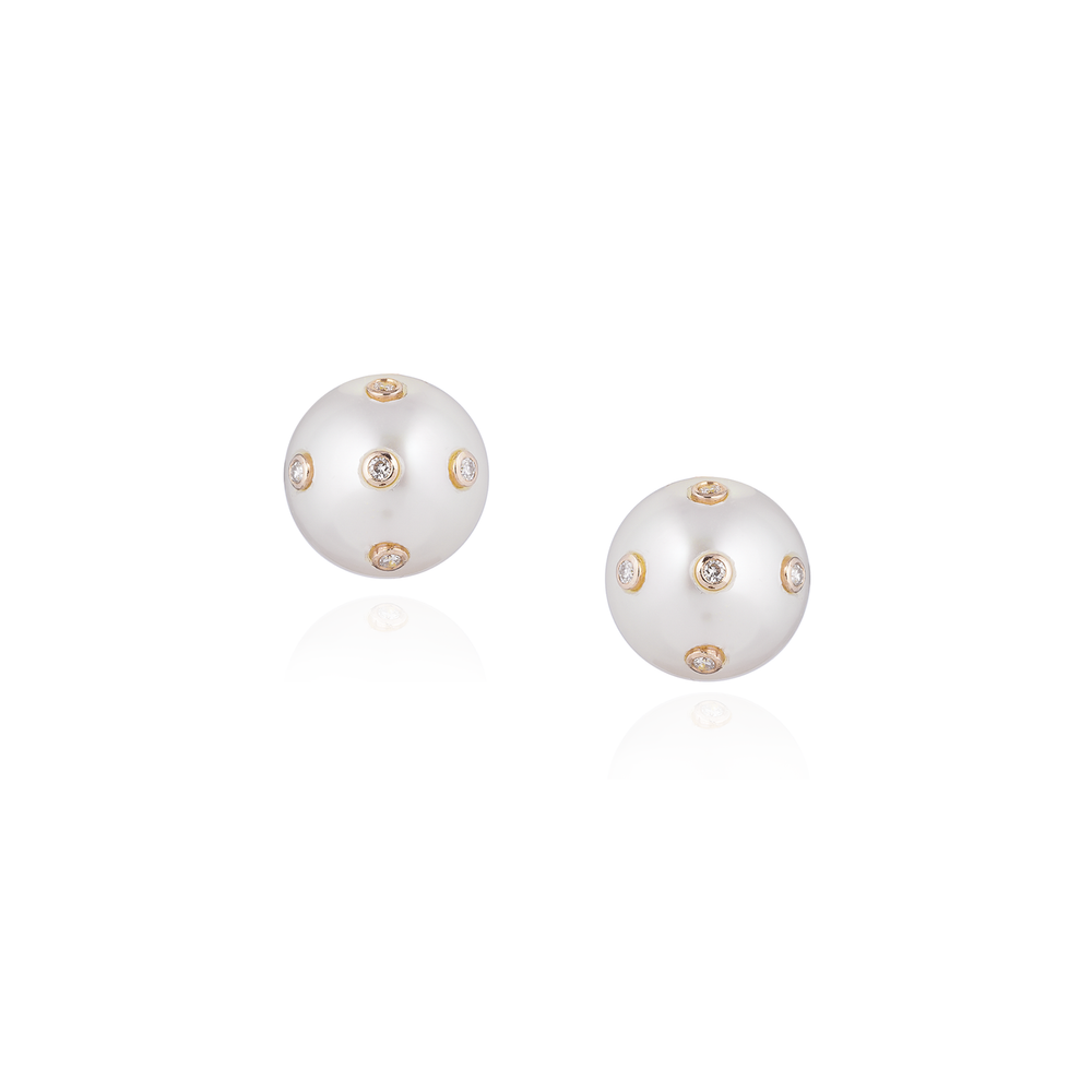 18K Yellow Gold Pearl Earrings with Diamonds