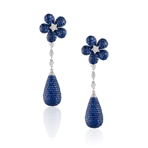 Blue Sapphire Drop Gold Diamond Earrings