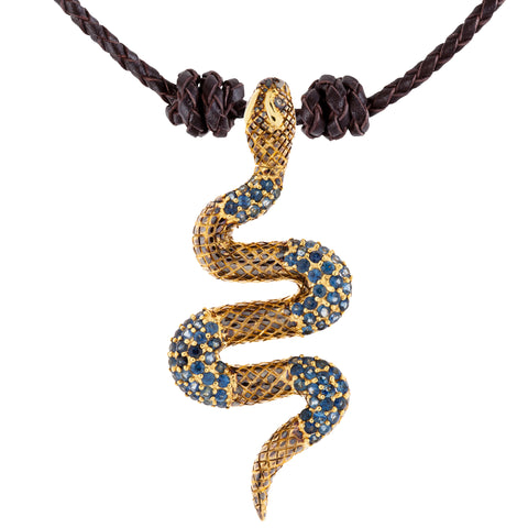 925 Silver Snake Pendant with Sapphires