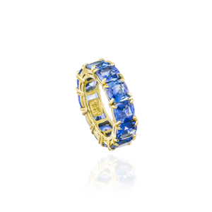 Load image into Gallery viewer, Blue Sapphire Eternity Ring