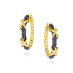 925 Silver Hoop Earrings with Blue Sapphire Pavé