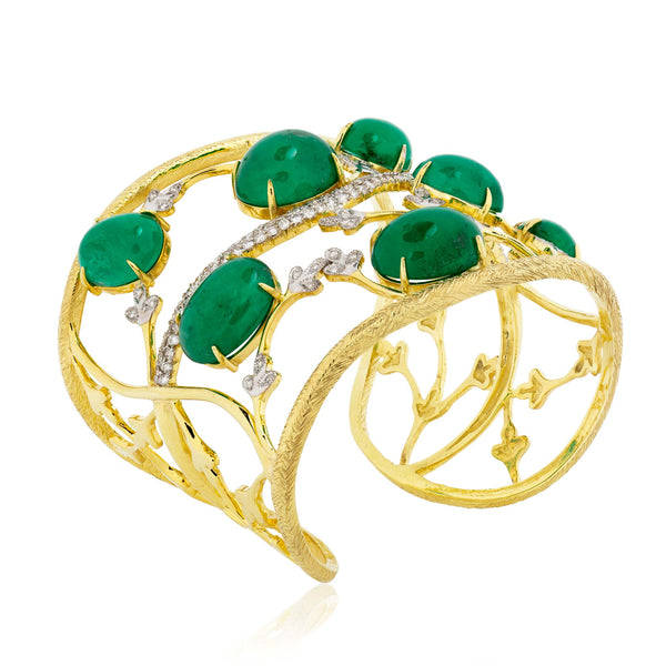 18k Yellow Gold Cuff with Emeralds and Diamonds