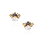 18K Gold Earrings with Blue Sapphire & Pearls