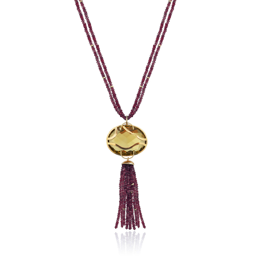 18k Yellow Gold Necklace with Quartz and Garnet