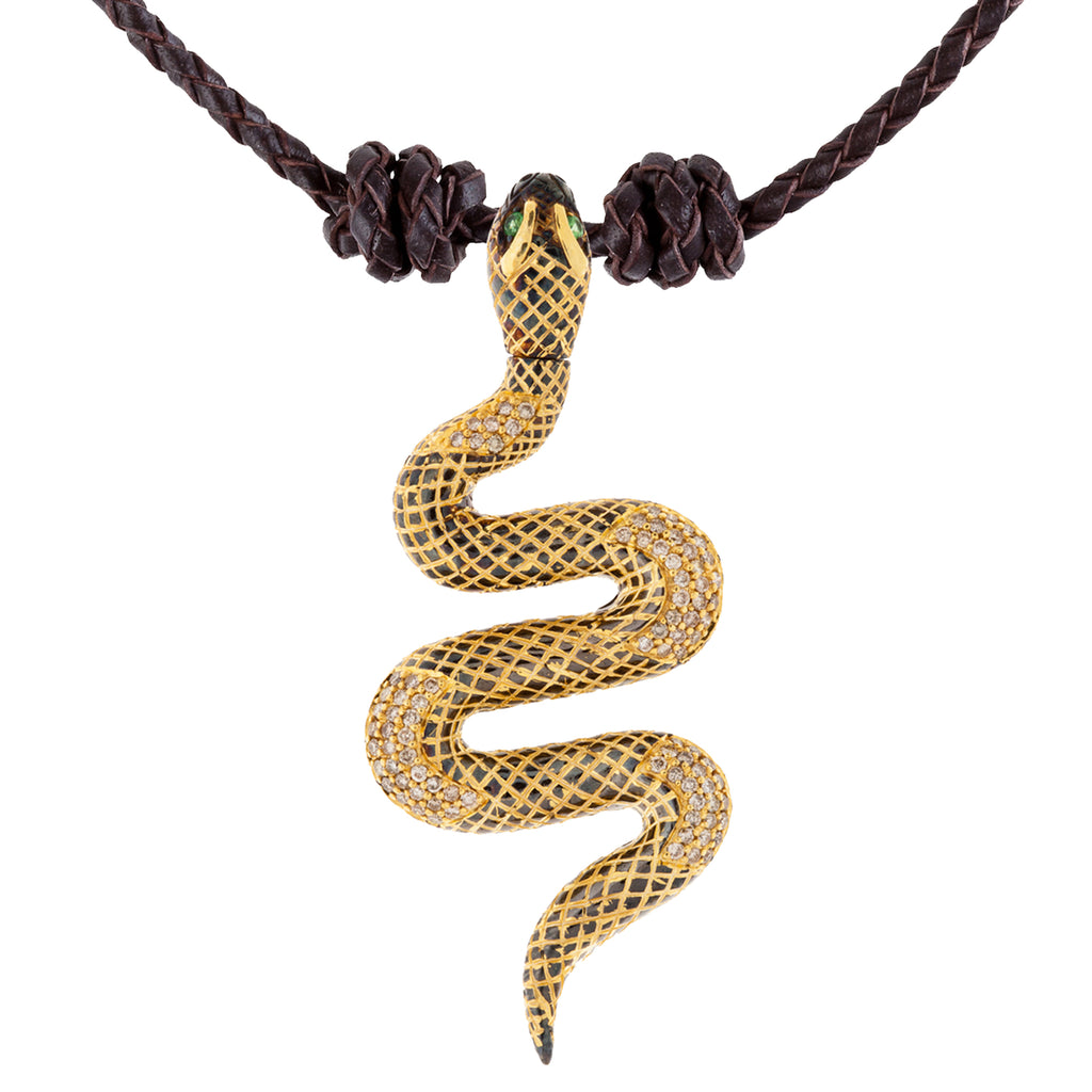 925 Silver Snake Pendant with Diamonds