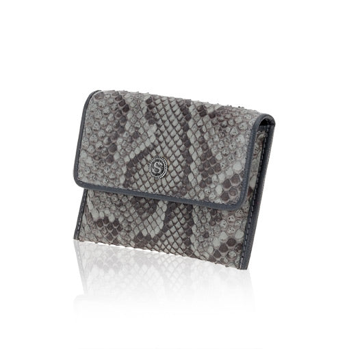 Grey Python Leather Credit Card Case