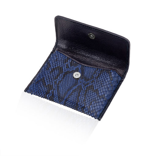 Blue Python Leather Credit Card Case