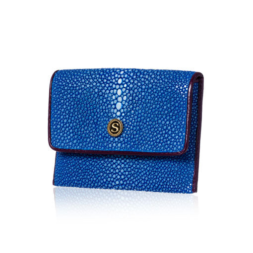 Blue and Purple Stingray Leather Credit Card Case