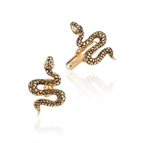 18k Yellow Gold Snake Cufflinks with Diamonds